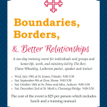 Boundaries, Borders, and Better Relationships Workshops Begin Soon
