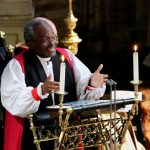 Episcopal Church Presiding Bishop Michael Curry gives an address during the wedding of Prince Harry and Meghan Markle in St. George's Chapel at Windsor Castle in Windsor, Britain, May 19, 2018. Owen Humphreys/Pool via REUTERS
